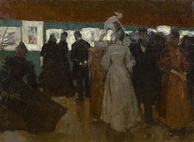 Floris Arntzenius | Exhibition in Pulchri Studio, The Hague, oil on canvas laid down on board, 45.2 x 59.8 cm, painted ca. 1895