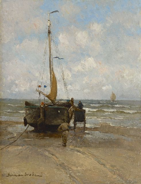 German Grobe | Loading the nets, Katwijk, oil on panel, 35.0 x 26.6 cm, signed l.l.