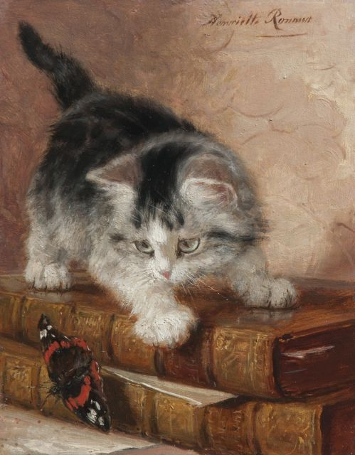 Henriette Ronner-Knip | Kitten playing with a butterfly, oil on panel, 22.0 x 17.3 cm, signed u.r. and painted ca. 1887