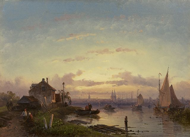 Leickert C.H.J.  | A river scene at sunset, oil on panel 21.9 x 30.6 cm, signed l.r. and painted 1855-1865