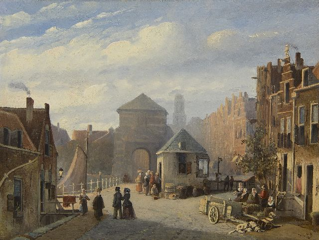 Joseph Bles | A sunny town view, oil on panel, 25.5 x 34.5 cm, signed l.r. and dated '48