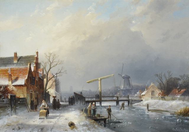 Charles Leickert | A Dutch town in winter with skaters, oil on panel, 25.8 x 35.9 cm, signed l.r.