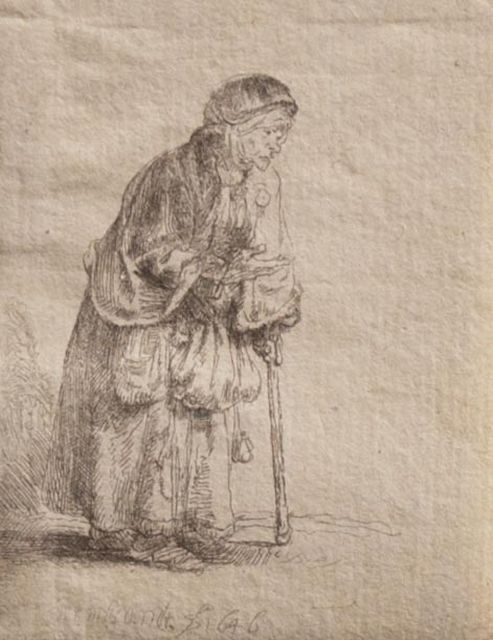 Rembrandt (Rembrandt Harmensz. van Rijn) | Beggar woman with stick, etching, 8.0 x 6.3 cm, signed l.c. in the plate and dated 1646 in the plate