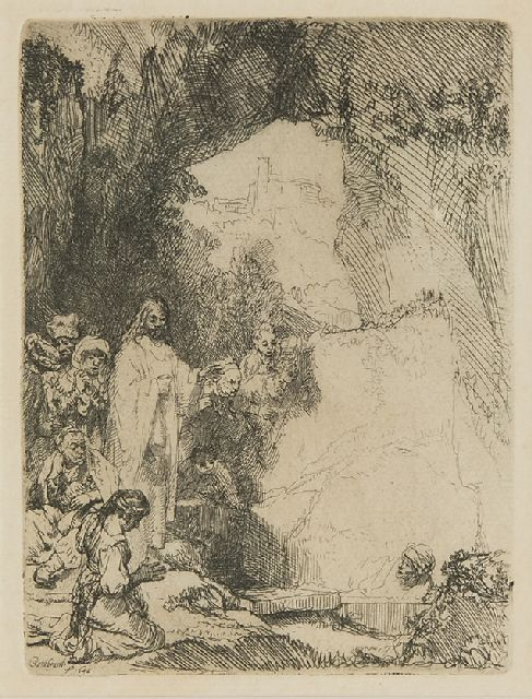 Rembrandt (Rembrandt Harmensz. van Rijn) | The raising of Lazarus, etching, 15.0 x 11.4 cm, signed l.l. in the plate and dated in the plate 1642
