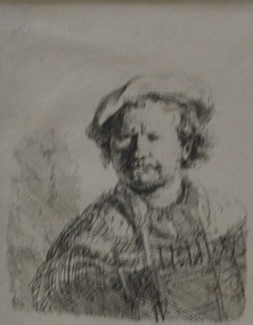 Rembrandt (Rembrandt Harmensz. van Rijn) | Self portrait with flat cap, etching, 9.2 x 6.2 cm, made ca. 1642