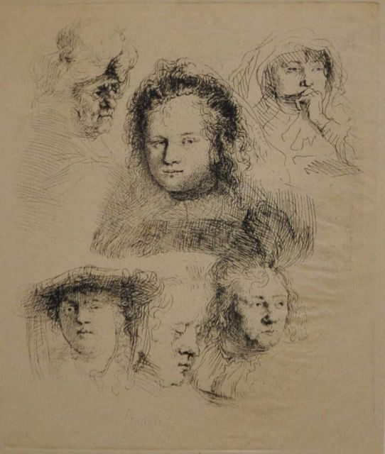Rembrandt (Rembrandt Harmensz. van Rijn) | Studies of the head of Saskia and others, etching, 15.1 x 12.6 cm, signed l.l. in the plate and dated 1636 in the plate