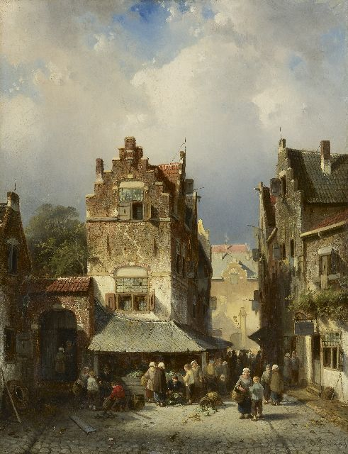 Charles Leickert | Town view with market place, oil on panel, 43.2 x 33.7 cm, signed l.r. and on the signboard