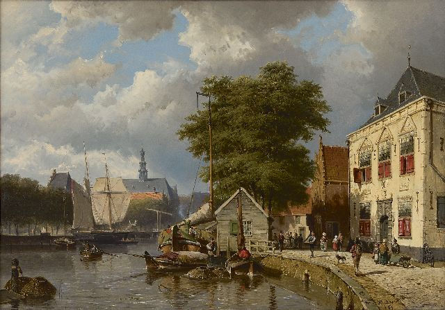 Willem Koekkoek | A view of a town with moored ships, oil on canvas, 65.1 x 92.1 cm, signed l.r. and dated '61