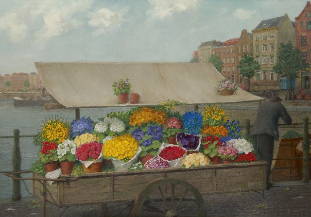 Gerrit David Labots | A flower cart, oil on canvas, 70.3 x 100.0 cm, signed l.r. and on the reverse and dated 1953