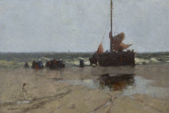 Walter Castle Keith | Fishing barge on the beach of Katwijk, oil on canvas laid down on board, 26.5 x 38.7 cm, signed l.l.