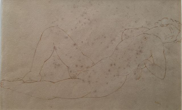 Kelder A.B.  | Reclining nude, pen and ink on paper (on board) 19.6 x 29.8 cm, signed l.r.