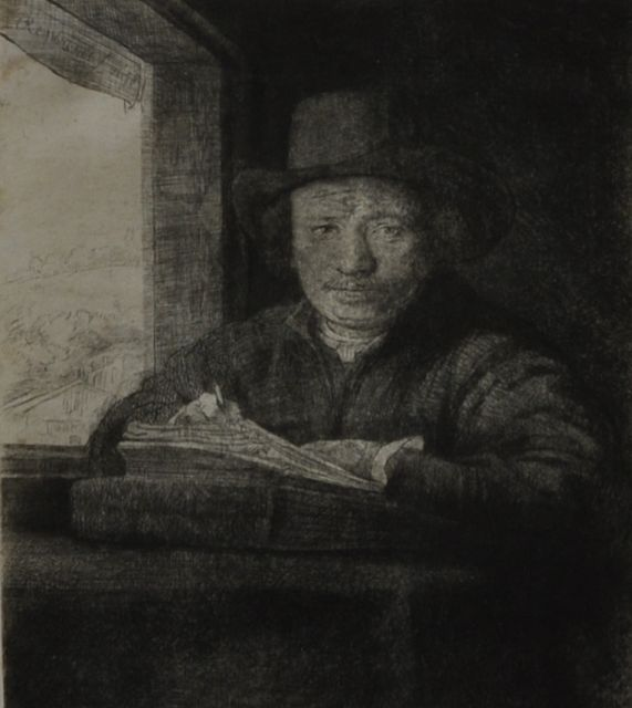 Rembrandt (Rembrandt Harmensz. van Rijn) | Self-portrait, etching by a window, etching and dry needle on paper, 15.8 x 12.9 cm, signed u.l.  In the plate and dated 1648 in the plate