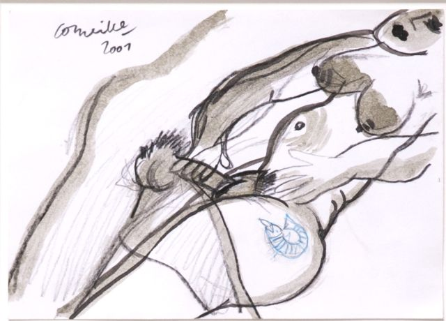 Corneille ('Corneille' Guillaume Beverloo)   | Faire l'amour, ink, chalk and watercolour on paper 14.8 x 20.7 cm, signed u.l. and dated 2001