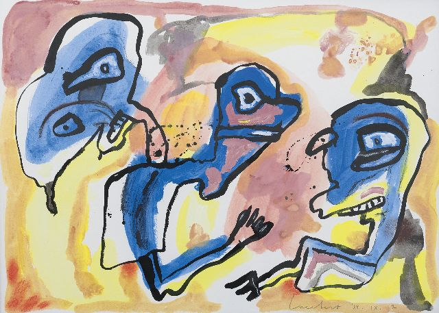 Lucebert | Figures and Heads, crayon and gouache and oil on paper, 49.5 x 63.0 cm, signed l.r. and dated '88.IX.12