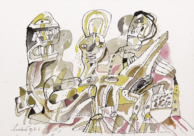 Lucebert (Lubertus Jacobus Swaanswijk)   | Family, ink, chalk and watercolour on paper 32.3 x 45.2 cm, signed l.l. and dated '89.I.6