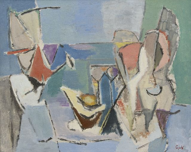 Velde G. van | A la plage, oil on canvas 81.5 x 99.9 cm, signed l.r. with initials and painted ca. 1938