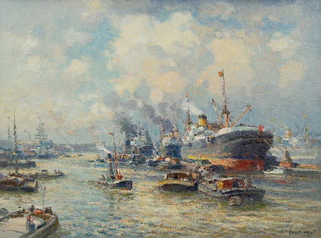 Evert Moll | Harbour view, Rotterdam, oil on canvas, 60.8 x 80.7 cm, signed l.r.