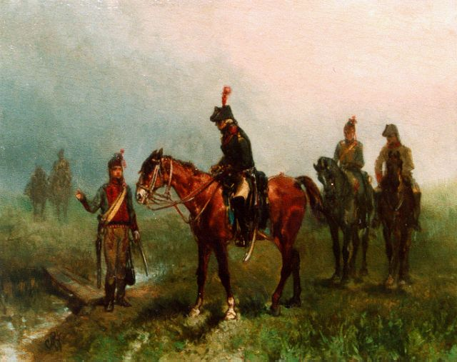 Charles Rochussen | Cavalrymen, oil on panel, 15.9 x 20.0 cm, signed monogram l.l. and dated '68