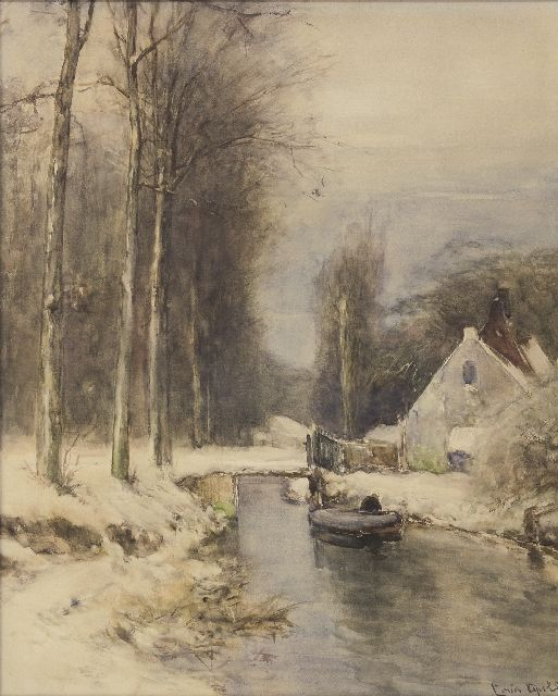 Louis Apol | Winter scene with house along a canal, gouache on paper, 58.0 x 47.0 cm, signed l.r.