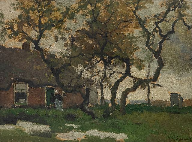Koning A.H.  | Farmyard, oil on panel 31.4 x 41.7 cm, signed l.r.