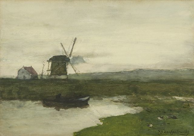 Jan Hendrik Weissenbruch | A windmill in a polder landscape, watercolour on paper, 34.5 x 49.6 cm, signed l.r. and painted ca. 1900