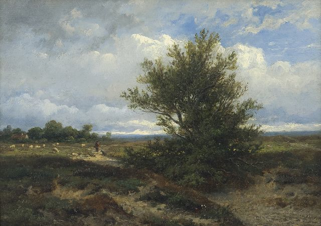 Anthonie Jocabus van Wijngaerdt | A landscape with shepherd and his flock, oil on panel, 22.3 x 31.0 cm, signed l.r. and dated 1865