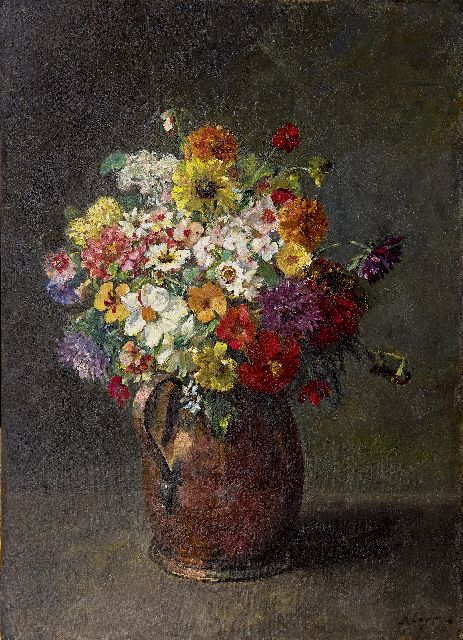 Baruch  Lopez de Leao Laguna | Summer flowers in a kopper jar, oil on canvas, 74.3 x 53.6 cm, signed l.r.