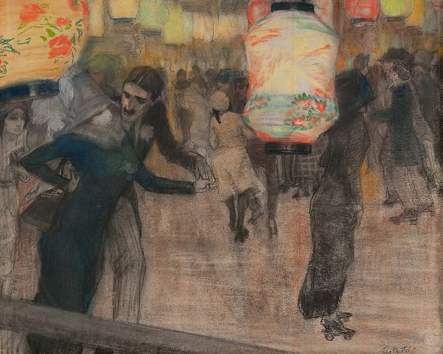 Leo Gestel | A roller skating rink with Japanese lanterns, black chalk and pastel on paper, 41.5 x 52.0 cm, signed l.r. and painted ca. 1910-1911