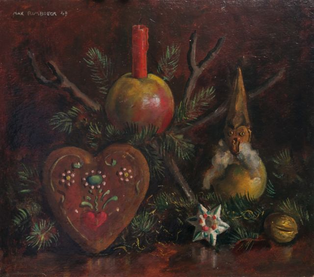 Max Rimböck | Christmas still life, oil on painter's board, 29.4 x 35.3 cm, signed u.l. and dated '49
