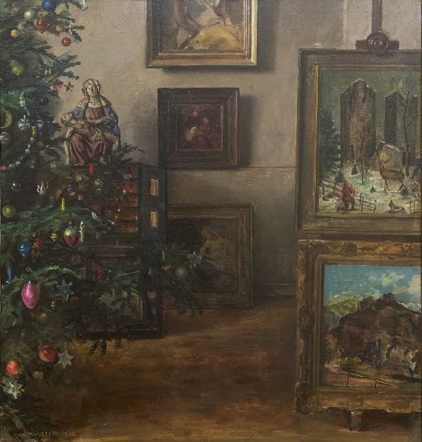 Max Rimböck | A Christmas interior, oil on asbestos, 61.3 x 58.3 cm, signed l.l. and dated 1936