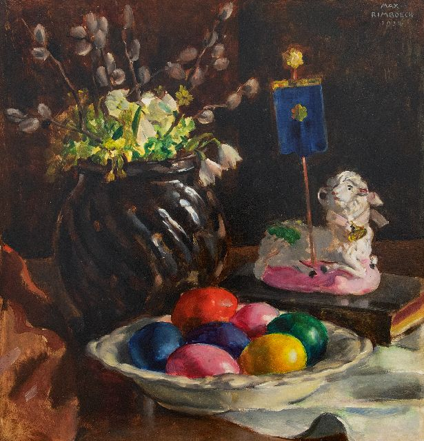 Max Rimböck | Easter still life, oil on panel, 38.3 x 37.0 cm, signed u.r. and dated 1934