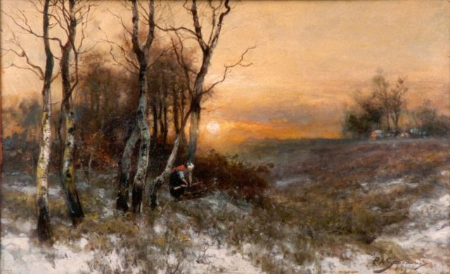 Piet Schipperus | Gathering wood in winter, 31.4 x 49.5 cm, signed l.r.