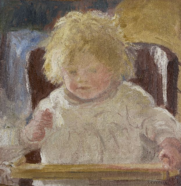 Ko Cossaar | Girl in a high chair, oil on canvas laid down on panel, 44.0 x 42.7 cm, signed l.r.