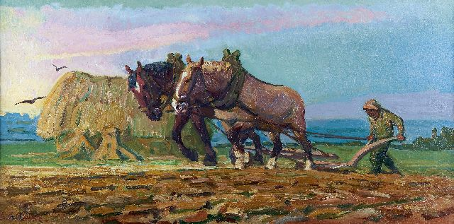 Adriaan Herman Gouwe | Ploughing horses and farmer, oil on canvas, 43.3 x 85.5 cm, signed l.l.