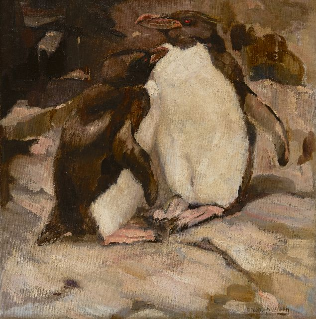 Greta Bruigom | Penguins, oil on canvas, 46.1 x 45.3 cm, signed l.r. and on the stretcher