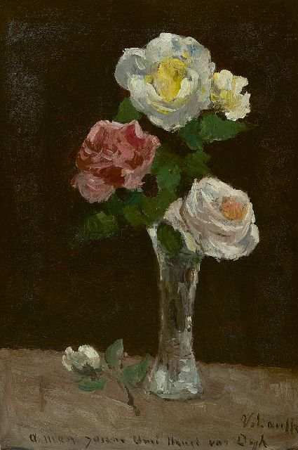 Bauffe V.  | Roses in a crystal vase, oil on canvas 37.0 x 25.7 cm, signed l.r.