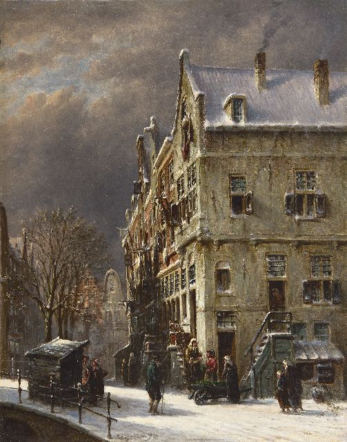 Petrus Gerardus Vertin | A snowy street with a stall and a vegetable seller, oil on panel, 37.3 x 29.5 cm, signed l.c. and dated '76