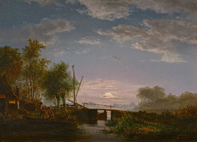 Jacobus Theodorus Abels | Fishermen in a moonlit river landscape, oil on panel, 21.5 x 29.3 cm, signed l.r.