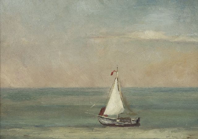 Hendrik Willem Mesdag | A quiet sea wit a sailing vessel, oil on paper laid down on panel, 21.8 x 30.2 cm