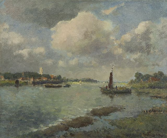 Johannes Embrosius van de Wetering de Rooij | The river Waal near Zaltbommel, oil on canvas, 50.3 x 60.1 cm, signed l.r.