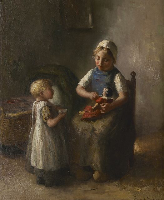 Bernard de Hoog | Playing with the doll, oil on canvas, 63.3 x 52.3 cm, signed l.r.