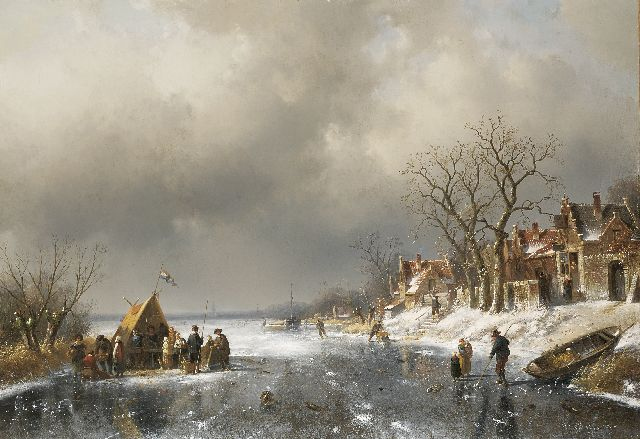Charles Leickert | Refreshment stall on the ice on the outskirts of a village, oil on canvas, 71.4 x 103.2 cm, signed l.r.