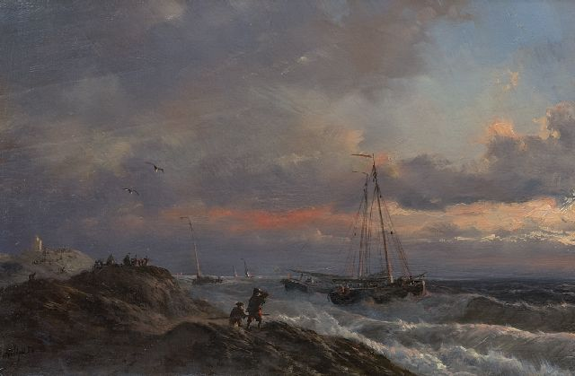 Petrus Paulus Schiedges | Storm on the Dutch coast, oil on panel, 19.2 x 29.2 cm, signed l.l. and dated '54