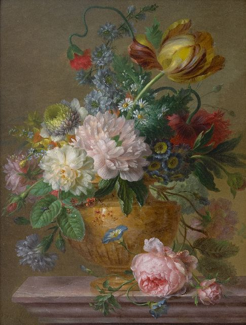 Leen W. van | A flower still life, oil on panel 48.8 x 36.7 cm, signed l.l.