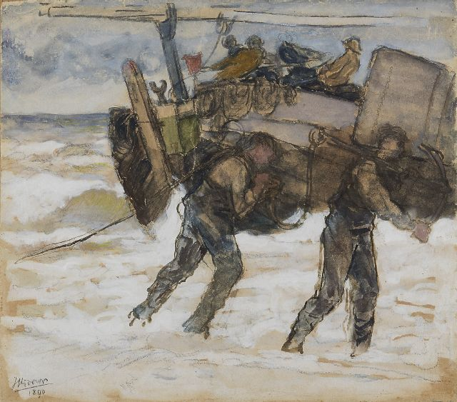 Toorop J.Th.  | Fischermen on the beach, chalk and watercolour on paper on board, 25.2 x 28.2 cm, signed l.l. and dated 1890