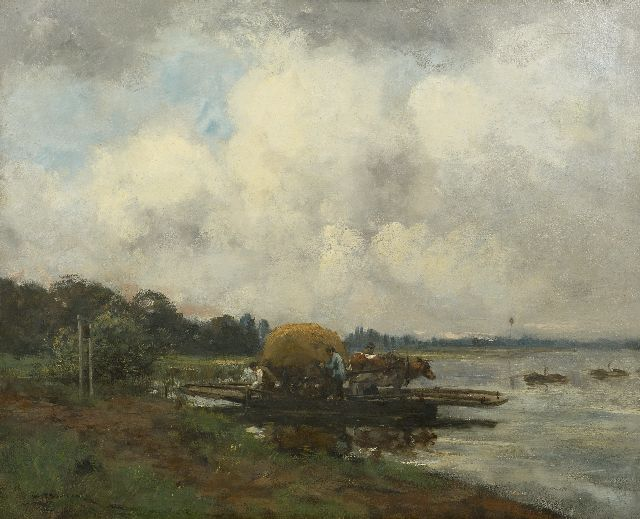Willem George Frederik Jansen | The ferry, oil on canvas, 80.8 x 101.0 cm, signed l.l.