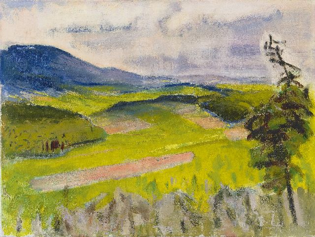 Jan Altink | Landscape in the Weser Hills, oil on canvas, 60.0 x 80.3 cm, painted ca. 1957