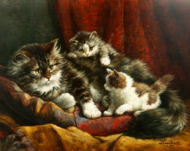 Cornelis Raaphorst | A cat with two kittens, oil on canvas, 39.0 x 49.0 cm, signed l.r.