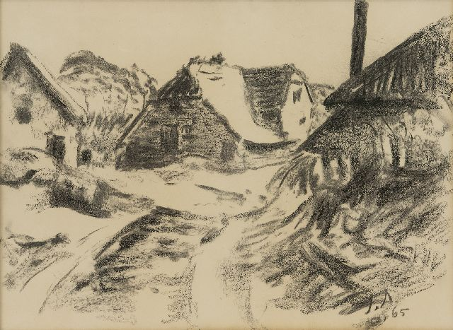 Altink J.  | Farms, charcoal on paper 36.7 x 48.8 cm, signed l.r. with initials and dated '65