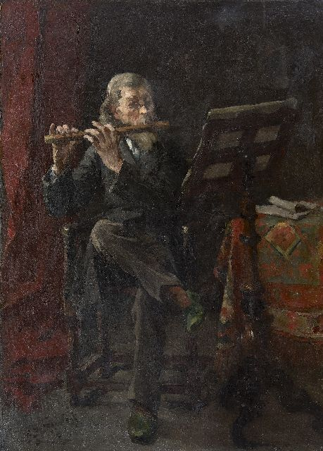 Eduard Frankfort | The flute player, oil on canvas, 72.0 x 51.8 cm, signed l.l. and dated '90